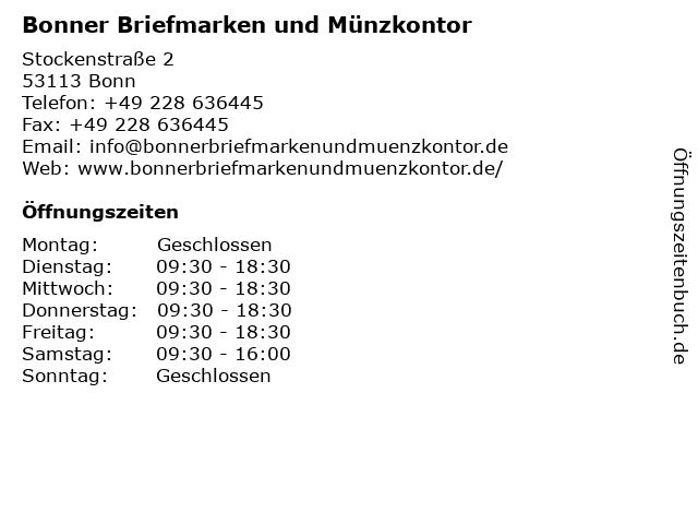 Bonner Briefmarken und Münzkontor in Bonn: Adresse und Öffnungszeiten
