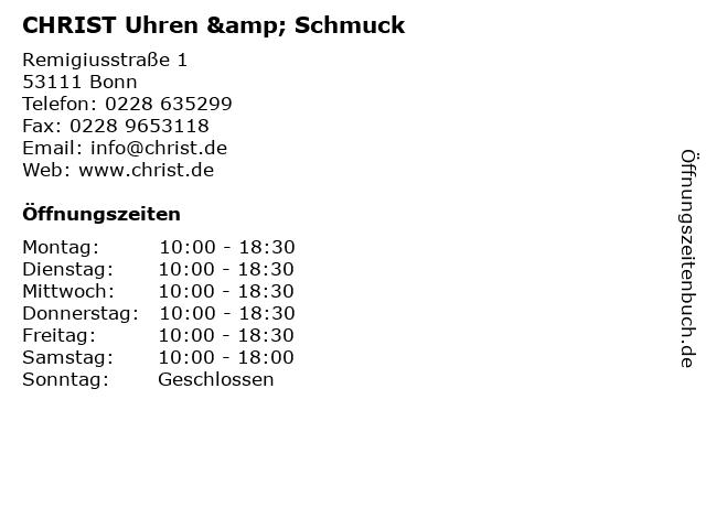 CHRIST Uhren & Schmuck in Bonn: Adresse und Öffnungszeiten