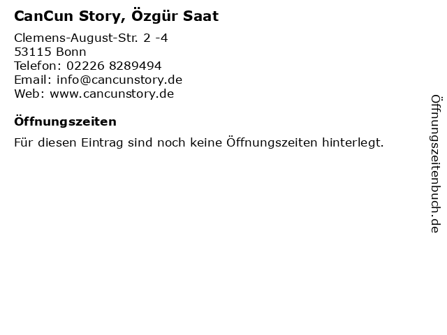 CanCun Story, Özgür Saat in Bonn: Adresse und Öffnungszeiten