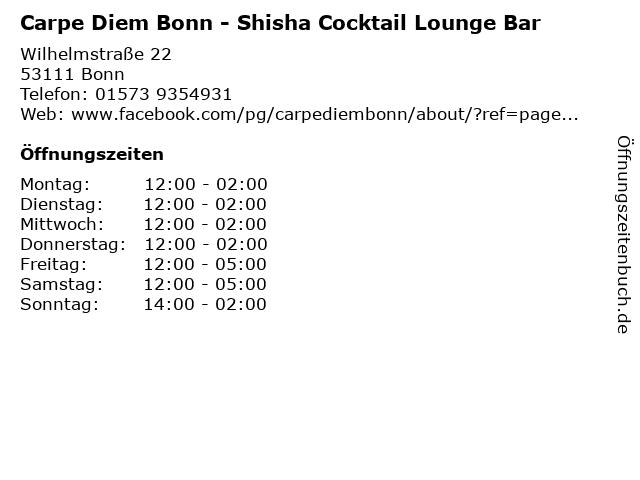 Carpe Diem Bonn - Shisha Cocktail Lounge Bar in Bonn: Adresse und Öffnungszeiten