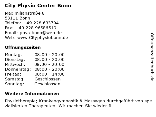 City Physio Center Bonn in BONN: Adresse und Öffnungszeiten