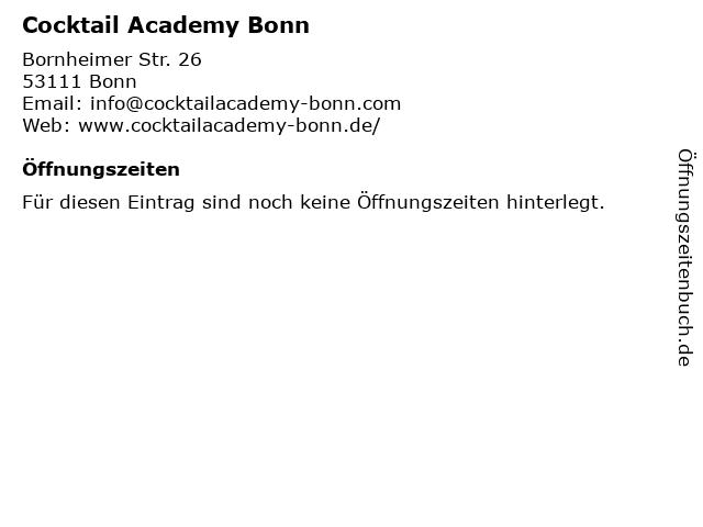 Cocktail Academy Bonn in Bonn: Adresse und Öffnungszeiten