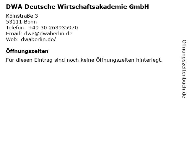 DWA Deutsche Wirtschaftsakademie GmbH in Bonn: Adresse und Öffnungszeiten