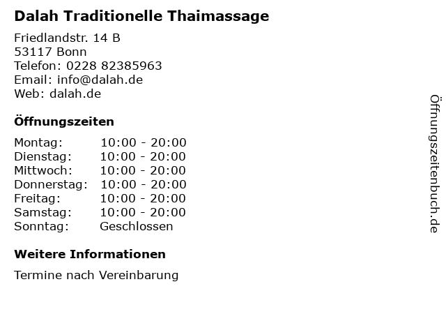 Dalah Traditionelle Thaimassage in Bonn: Adresse und Öffnungszeiten
