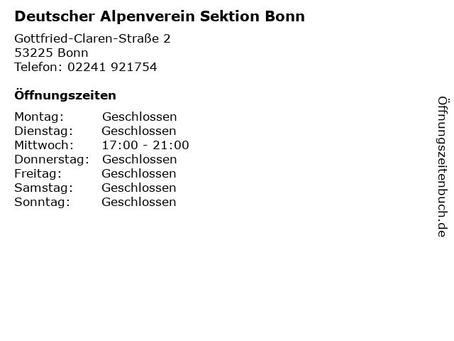 Deutscher Alpenverein Sektion Bonn in Bonn: Adresse und Öffnungszeiten
