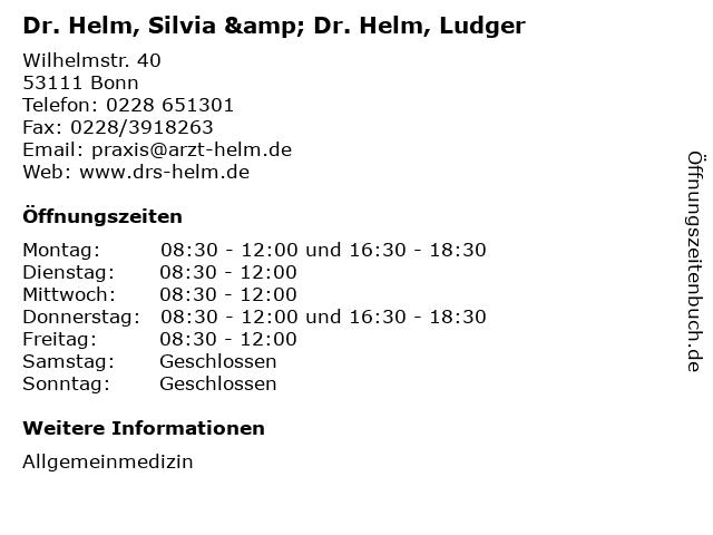 Dr. Helm, Silvia & Dr. Helm, Ludger in Bonn: Adresse und Öffnungszeiten