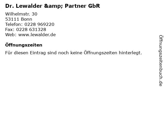 Dr. Lewalder & Partner GbR in Bonn: Adresse und Öffnungszeiten