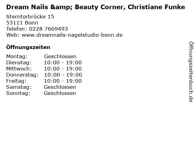 Dream Nails & Beauty Corner, Christiane Funke in Bonn: Adresse und Öffnungszeiten