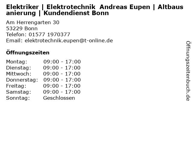 Elektriker | Elektrotechnik  Andreas Eupen | Altbausanierung | Kundendienst Bonn in Bonn: Adresse und Öffnungszeiten