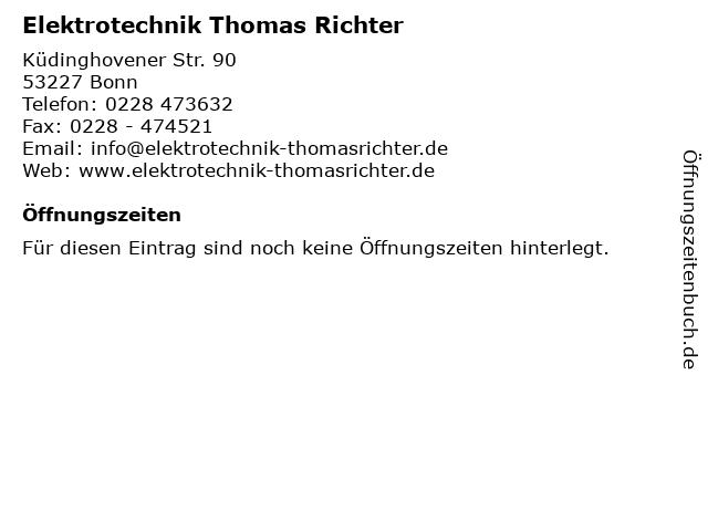 Elektrotechnik Thomas Richter in Bonn: Adresse und Öffnungszeiten