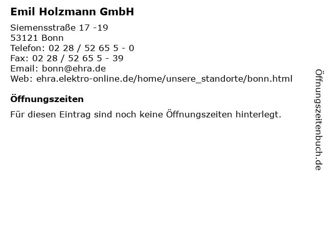 Emil Holzmann GmbH in Bonn: Adresse und Öffnungszeiten