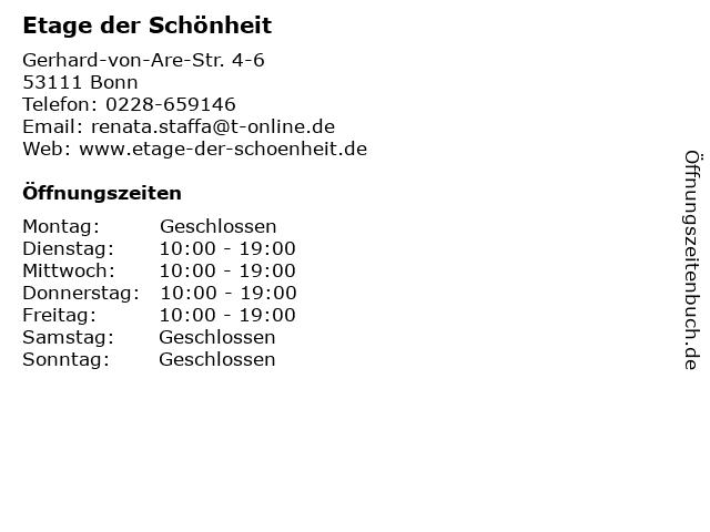 Etage der Schönheit in Bonn: Adresse und Öffnungszeiten