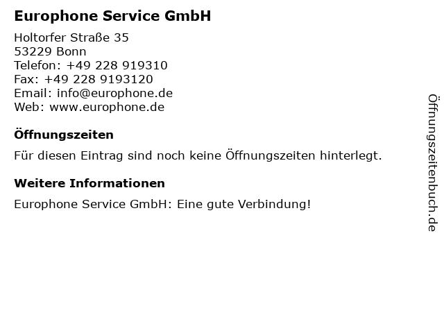 Europhone Service GmbH in Bonn: Adresse und Öffnungszeiten