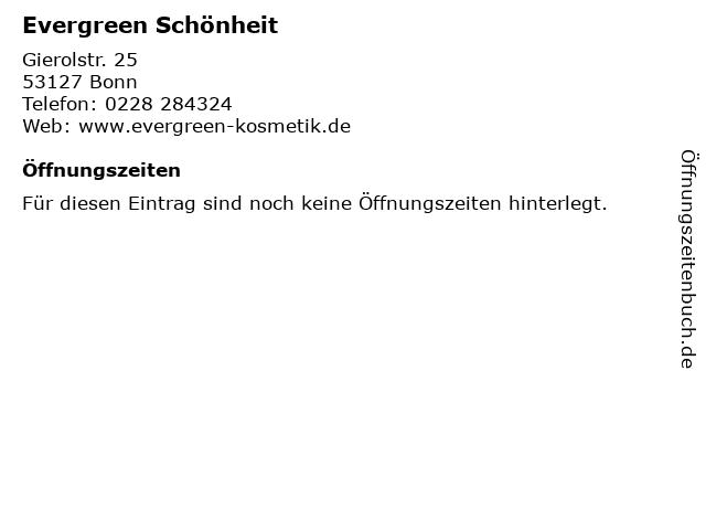 Evergreen Schönheit in Bonn: Adresse und Öffnungszeiten