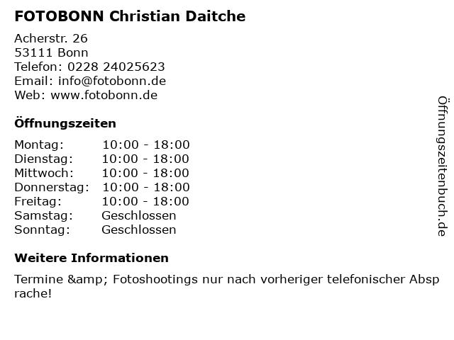 FOTOBONN Christian Daitche in Bonn: Adresse und Öffnungszeiten