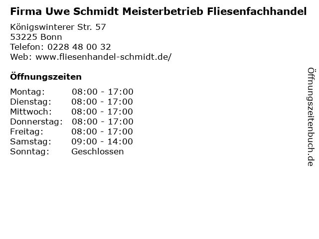 Firma Uwe Schmidt Meisterbetrieb Fliesenfachhandel in Bonn: Adresse und Öffnungszeiten