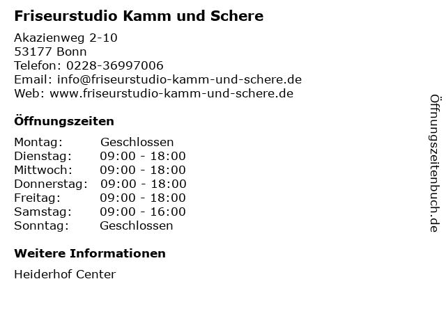 Friseurstudio Kamm und Schere in Bonn: Adresse und Öffnungszeiten