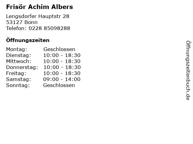 Frisör Achim Albers in Bonn: Adresse und Öffnungszeiten