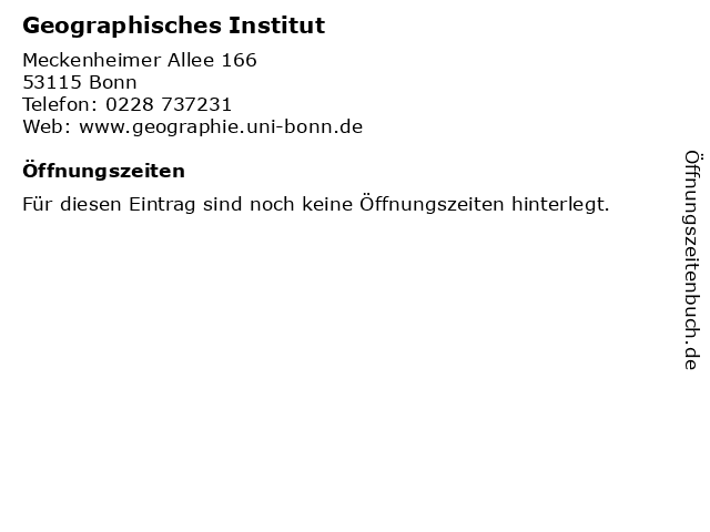 Geographisches Institut in Bonn: Adresse und Öffnungszeiten