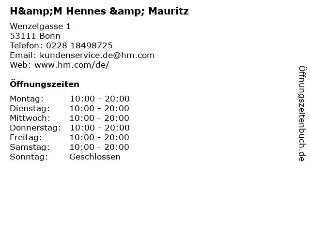 H&M Hennes & Mauritz in Bonn: Adresse und Öffnungszeiten