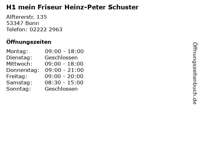 H1 mein Friseur Heinz-Peter Schuster in Bonn: Adresse und Öffnungszeiten
