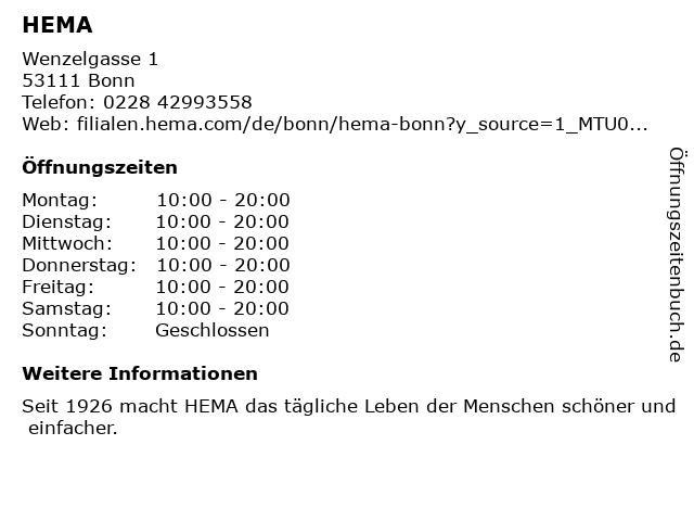 Hema in Bonn: Adresse und Öffnungszeiten