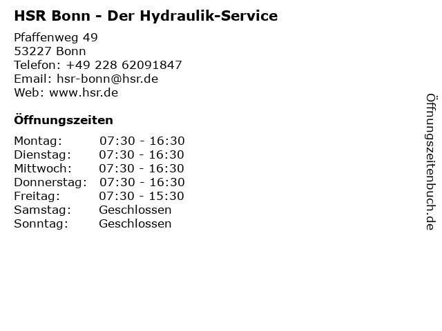 HSR Der Hydraulik-Service in Bonn: Adresse und Öffnungszeiten