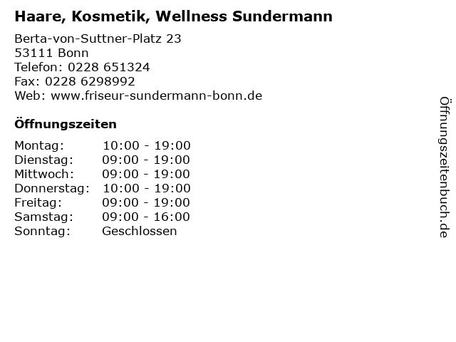 Haare, Kosmetik, Wellness Sundermann in Bonn: Adresse und Öffnungszeiten