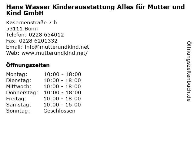 Hans Wasser Kinderausstattung Alles für Mutter und Kind GmbH in Bonn: Adresse und Öffnungszeiten