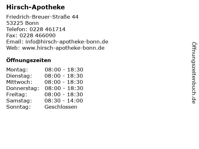 Hirsch-Apotheke in Bonn: Adresse und Öffnungszeiten