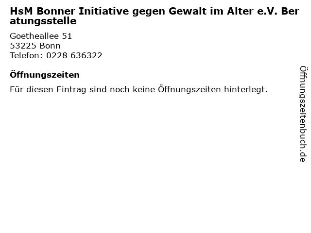 HsM Bonner Initiative gegen Gewalt im Alter e.V. Beratungsstelle in Bonn: Adresse und Öffnungszeiten