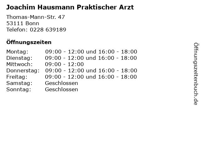Joachim Hausmann Praktischer Arzt in Bonn: Adresse und Öffnungszeiten