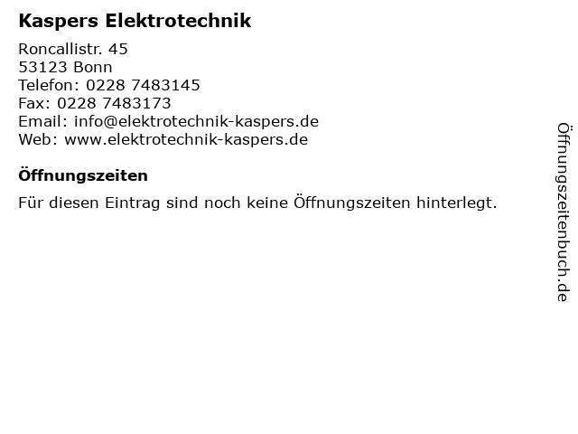 Kaspers Elektrotechnik in Bonn: Adresse und Öffnungszeiten