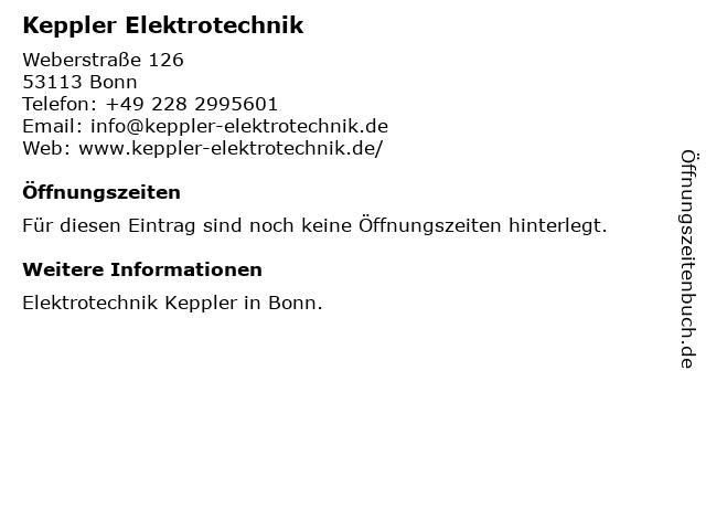 Keppler Elektrotechnik in Bonn: Adresse und Öffnungszeiten