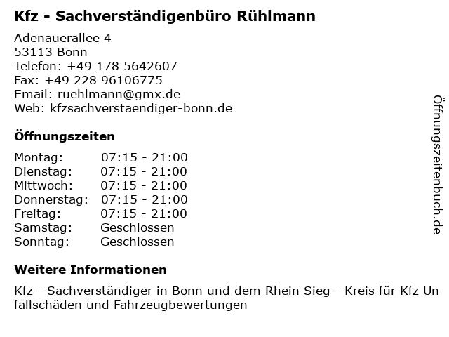 Kfz - Sachverständigenbüro Rühlmann in Bonn: Adresse und Öffnungszeiten