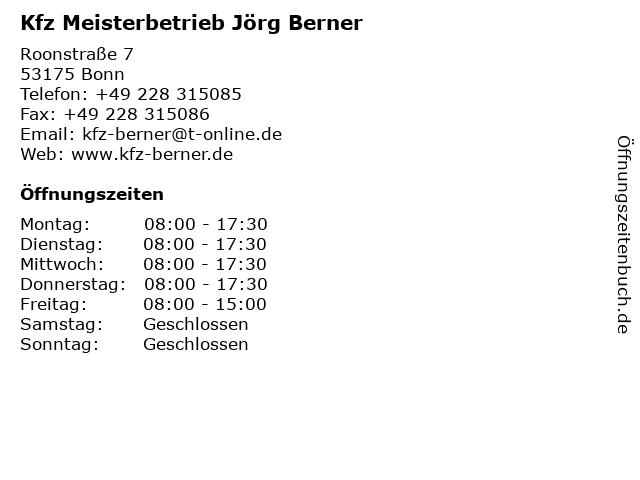 Kfz Meisterbetrieb Jörg Berner in Bonn: Adresse und Öffnungszeiten