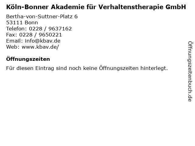 Köln-Bonner Akademie für Verhaltenstherapie GmbH in Bonn: Adresse und Öffnungszeiten
