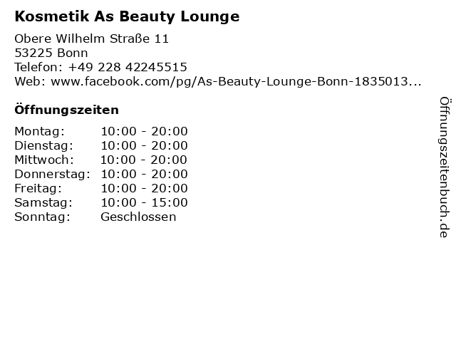 Kosmetik As Beauty Lounge in Bonn: Adresse und Öffnungszeiten