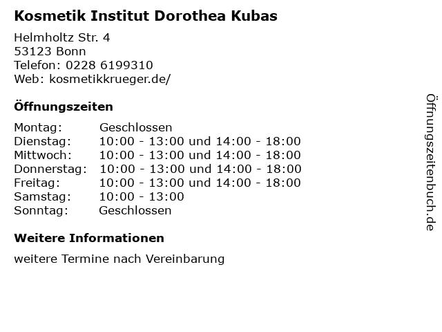 Kosmetik Institut Dorothea Kubas in Bonn: Adresse und Öffnungszeiten