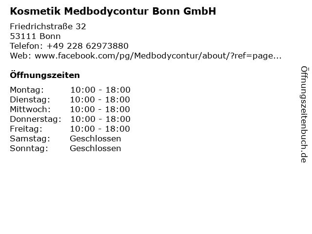 Kosmetik Medbodycontur Bonn GmbH in Bonn: Adresse und Öffnungszeiten