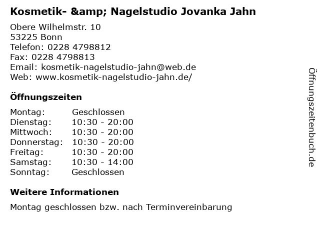 Kosmetik- & Nagelstudio Jovanka Jahn in Bonn: Adresse und Öffnungszeiten