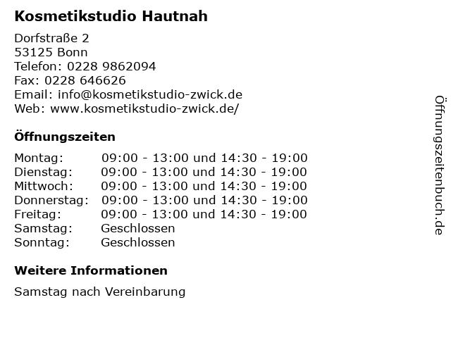 Kosmetikstudio Hautnah in Bonn: Adresse und Öffnungszeiten