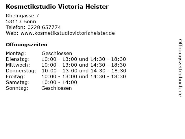 Kosmetikstudio Victoria Heister in Bonn: Adresse und Öffnungszeiten