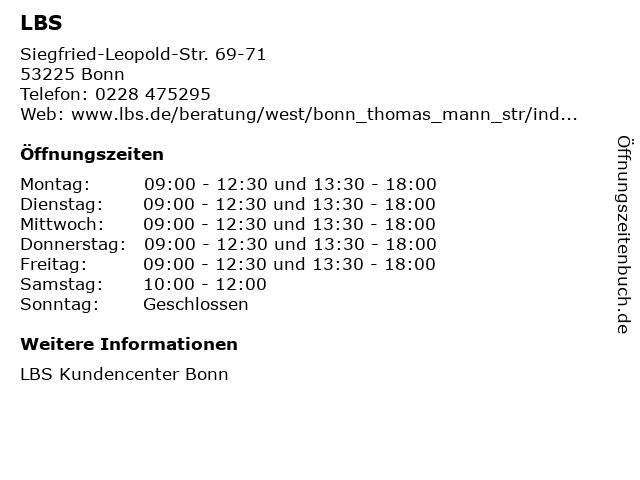 LBS in Bonn: Adresse und Öffnungszeiten