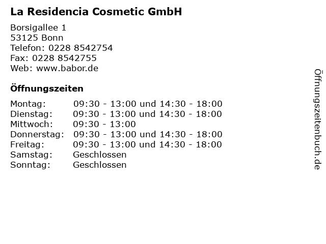 La Residencia Cosmetic GmbH in Bonn: Adresse und Öffnungszeiten