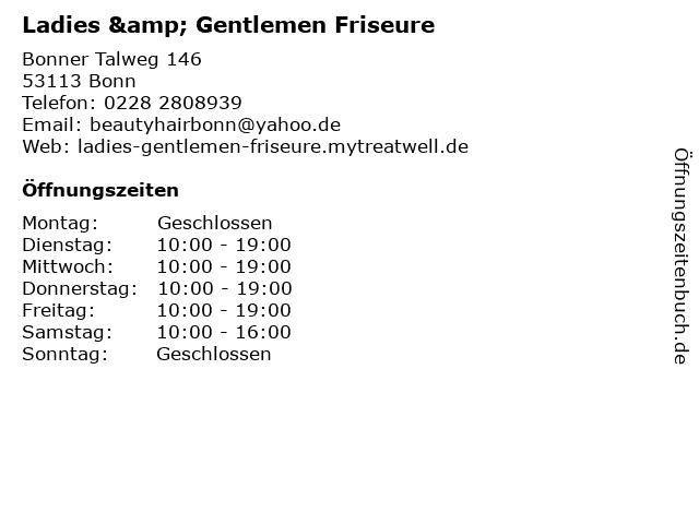 Ladies & Gentlemen Friseure in Bonn: Adresse und Öffnungszeiten
