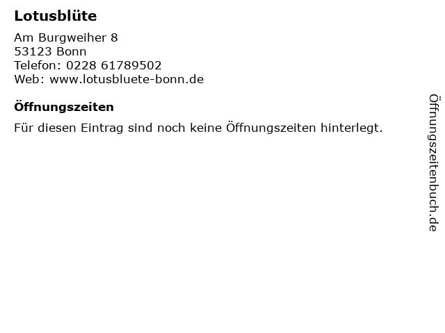 Lotusblüte in Bonn: Adresse und Öffnungszeiten