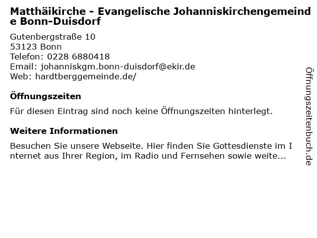 Matthäikirche - Evangelische Johanniskirchengemeinde Bonn-Duisdorf in Bonn: Adresse und Öffnungszeiten