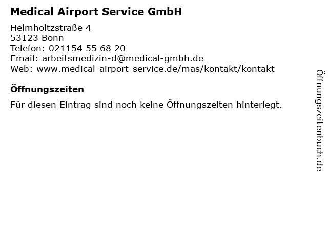 Medical Airport Service GmbH in Bonn: Adresse und Öffnungszeiten