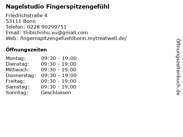 Nagelstudio Fingerspitzengefühl in Bonn: Adresse und Öffnungszeiten